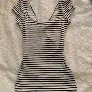 BRAND NEW fitted striped shirt with open back